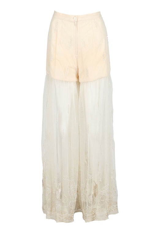 Fanm Mon Cream Tulle Palazzo Vyshyvanka Embroidery Pants