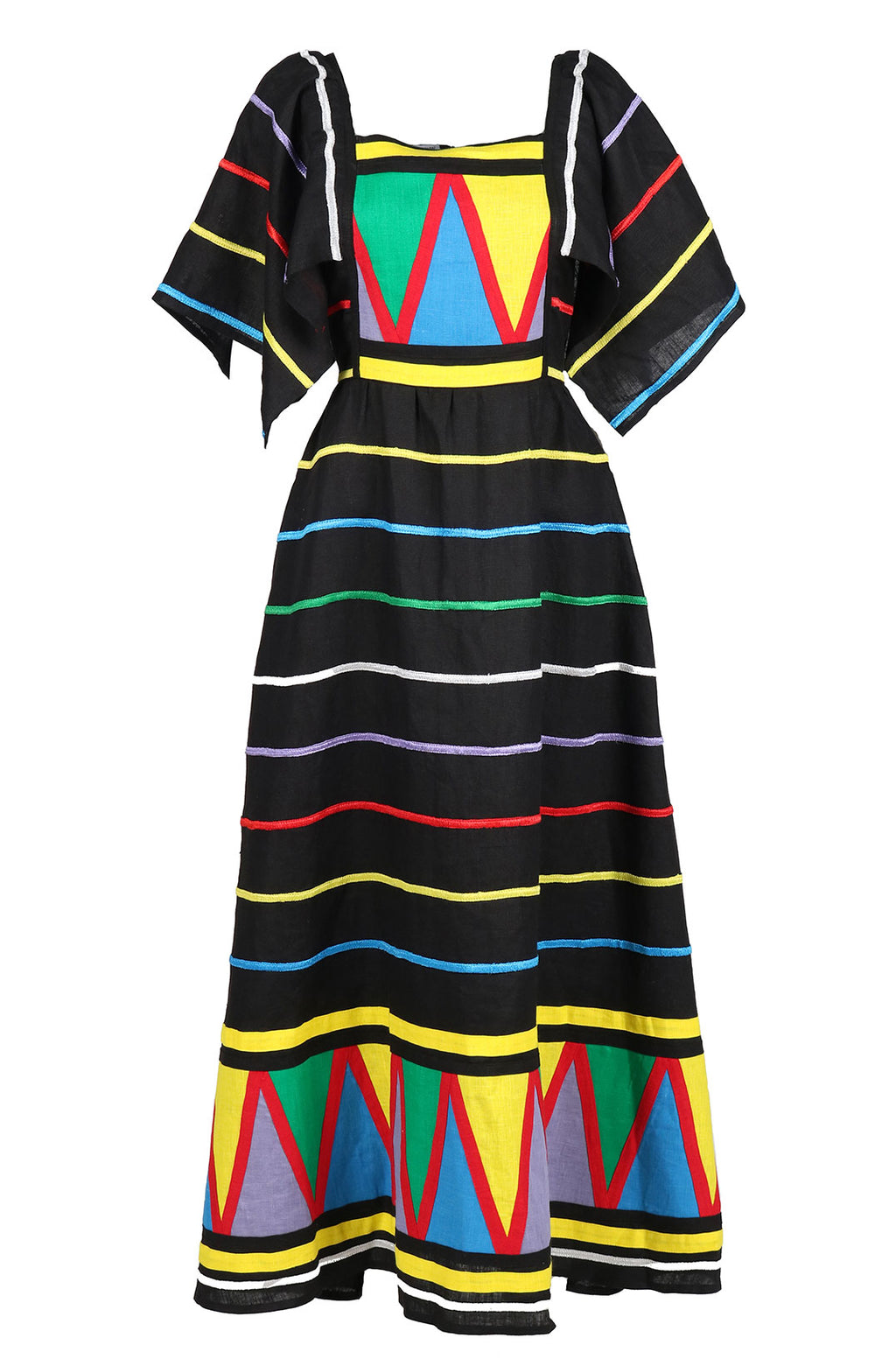 Fanm Mon Black Linen, Multi- color striped Embrodery Maxi Dress size XS-XXL SRTP001