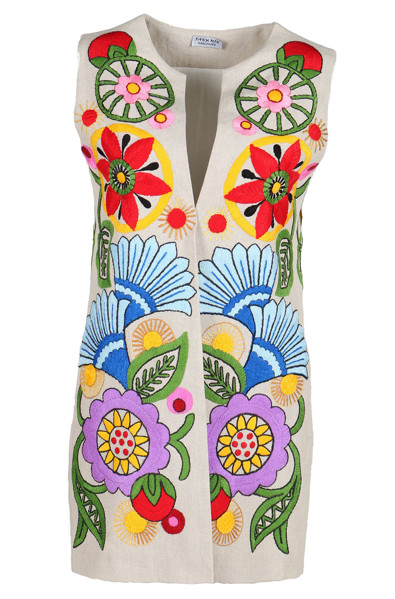 Fanm Mon Vyshyvanka NAYO Linen VEST HAND Embroidered MULTI COLOR Floral Vest SIZE S/M