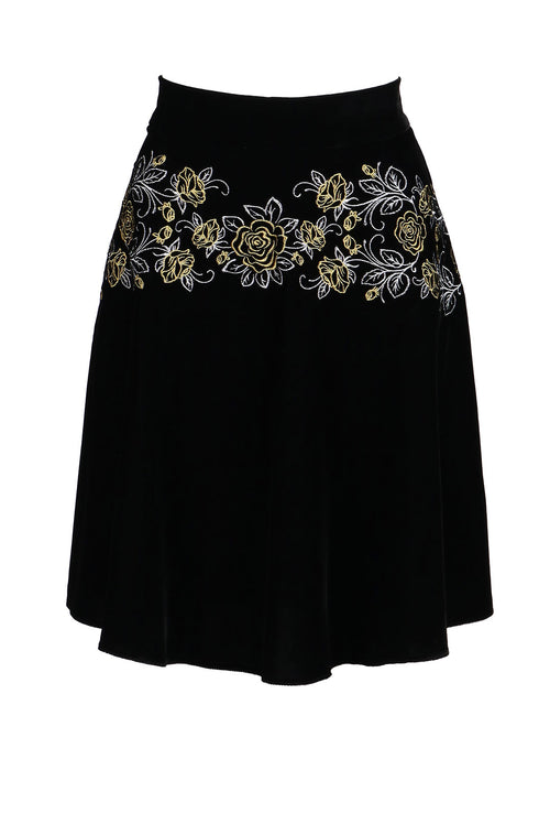Fanm Mon LORRE Black Velvet Gold Floral Embroidered Vyshyvanka Mini Skirt