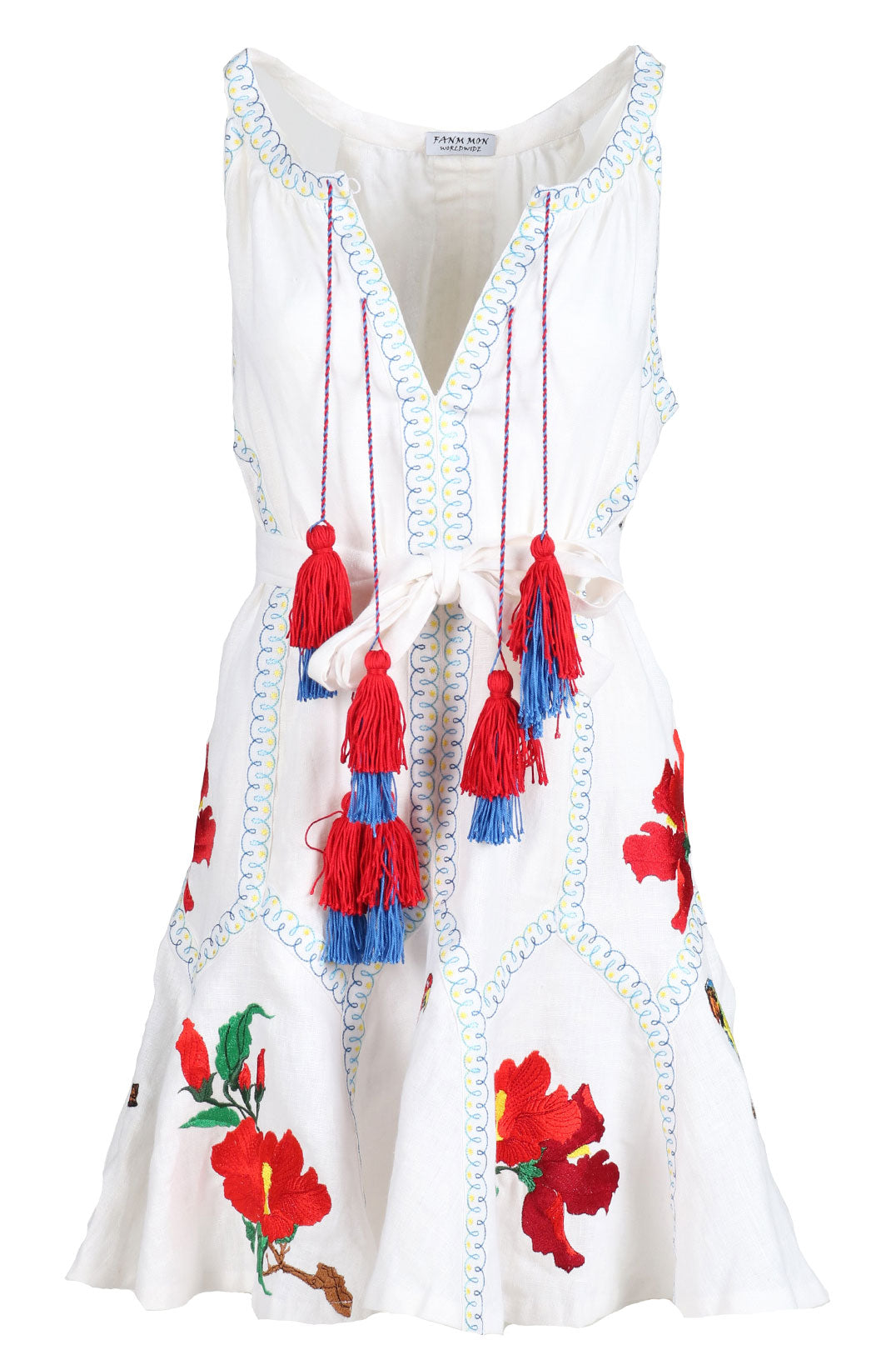 Fanm Mon ASTER White Linen Exotic Tropical Floral Embroidery Vyshyvanka MINI Dress size XS-XXL