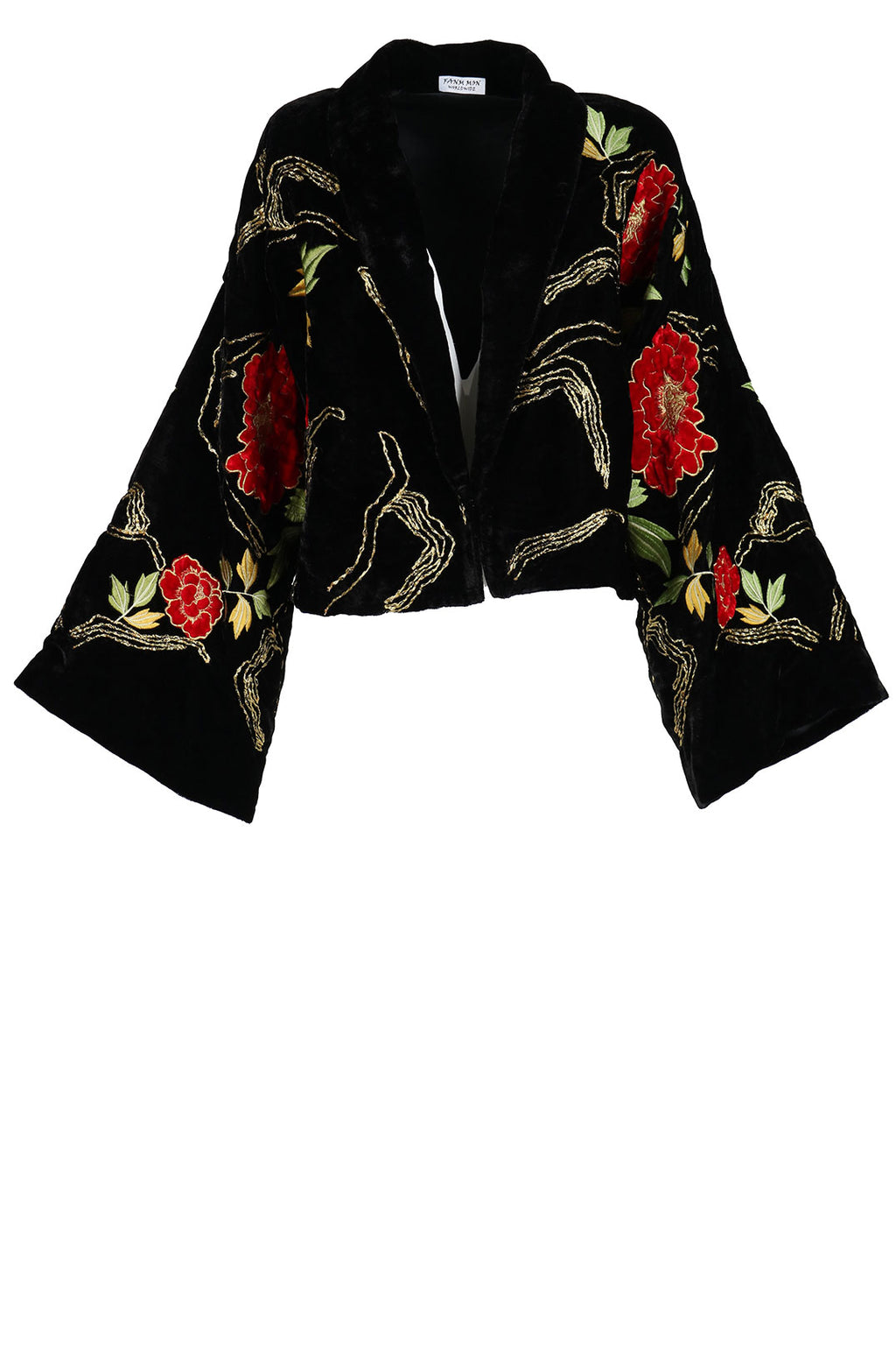 Fanm Mon DORE Vyshyvanka Black Velvet Jacket Dress Embroidered Multi Floral Color Jacket