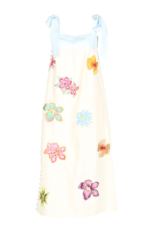 Fanm Mon ANNIE Cream Linen Exotic Tropical Floral Embroidery Vyshyvanka MIDI Dress size XS-XXL