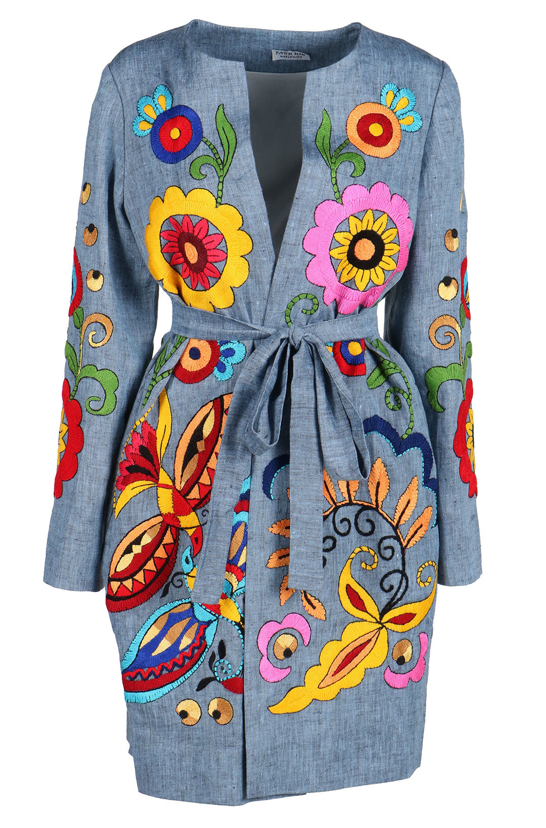 Fanm Mon Vyshyvanka PARSHA Linen Jacket HAND Embroidered MULTI COLOR Floral Jacket