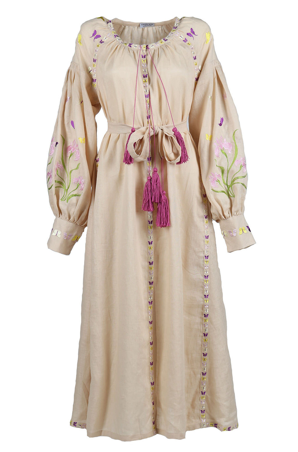 Fanm Mon Blush Linen Floral Butterfly Embroidery Vyshyvanka MIDI Dress MD0124