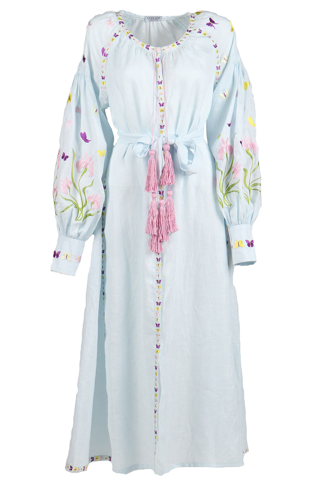Fanm Mon Light Blue Linen Floral Butterfly Embroidery Vyshyvanka MIDI Dress MD012A4