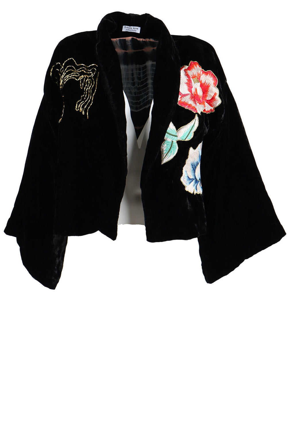 Fanm Mon  LOURDE Vyshyvanka Black Velvet Jacket Dress Embroidered Multi Floral Color Jacket