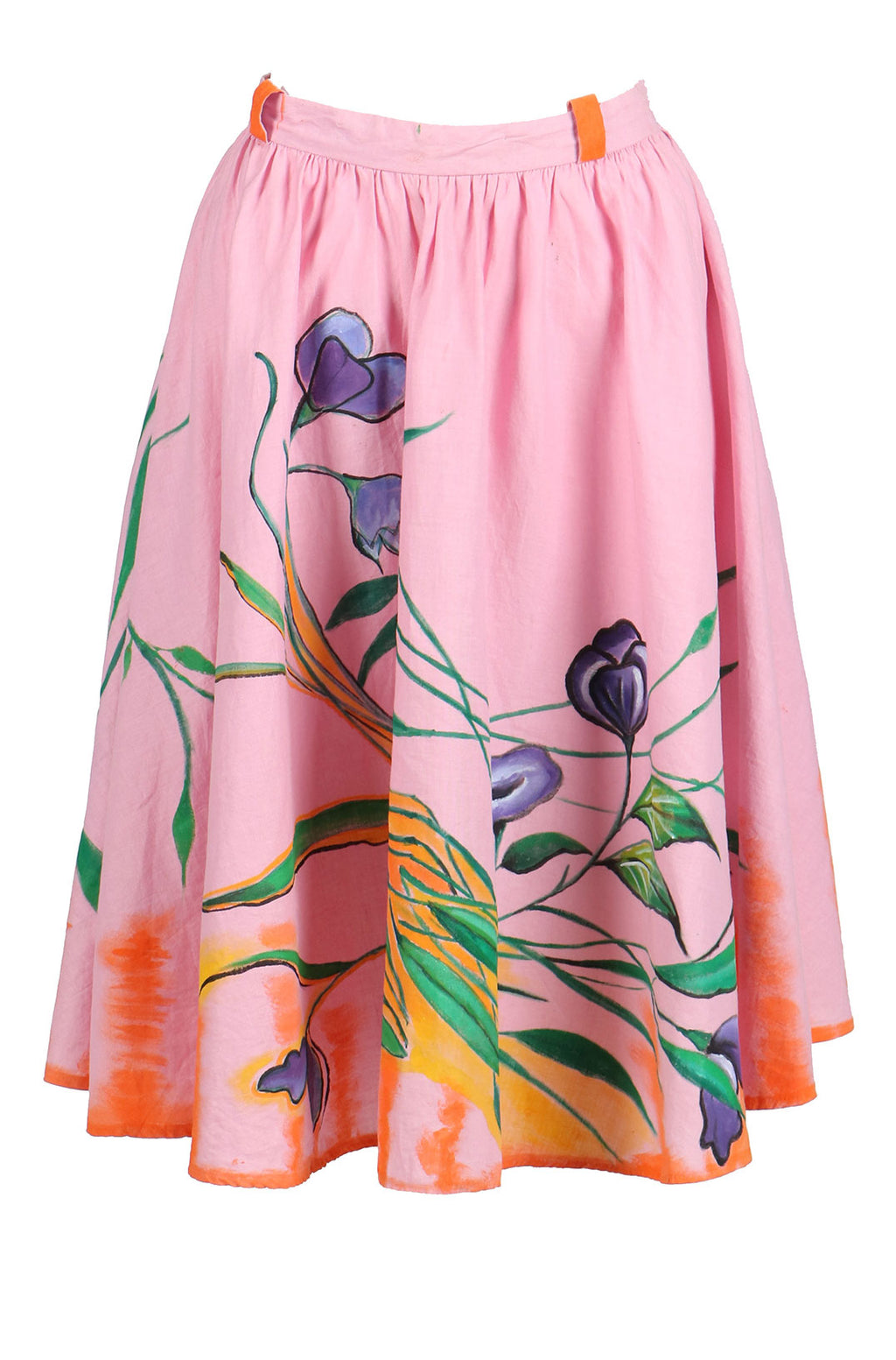Fanm Mon Hand Painted Linen Pink Color Floral Leaves Summer Skirts HPSS171 SIZE SMALL + BLOUSE + NECKLACE