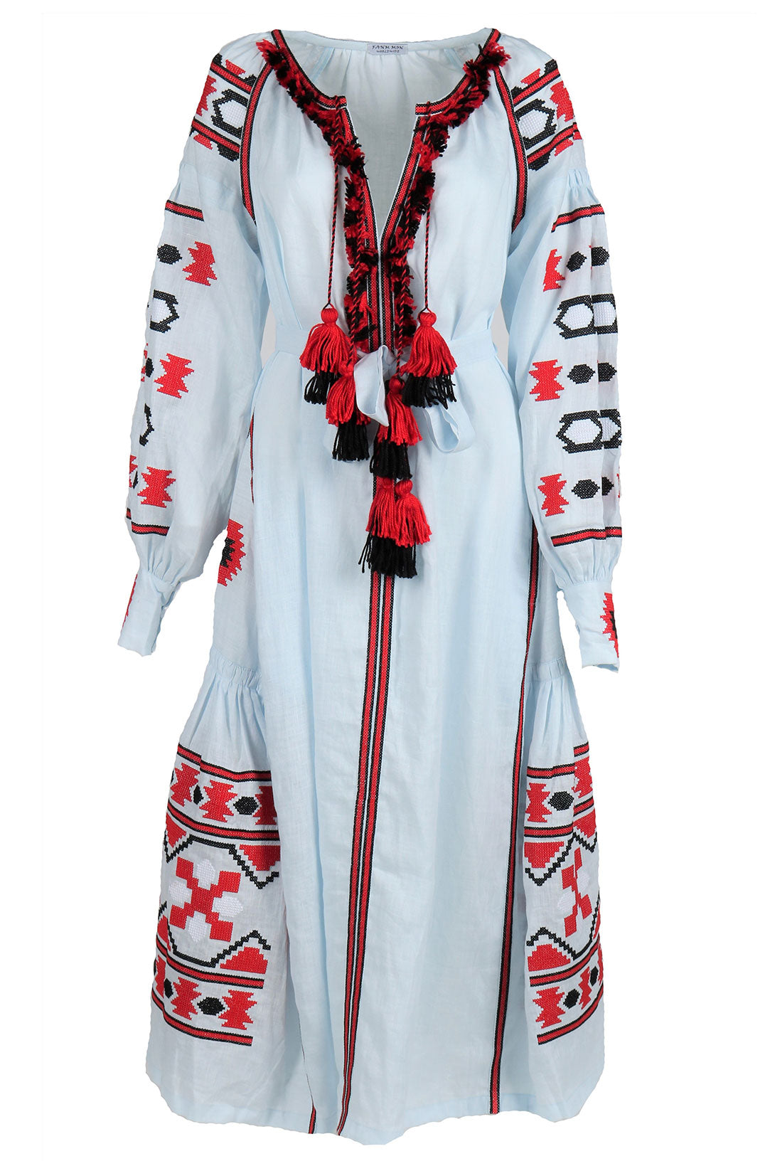 Fanm Mon Blue Linen Red Black Geometric Embroidery Vyshyvanka MIDI Dress MD0113