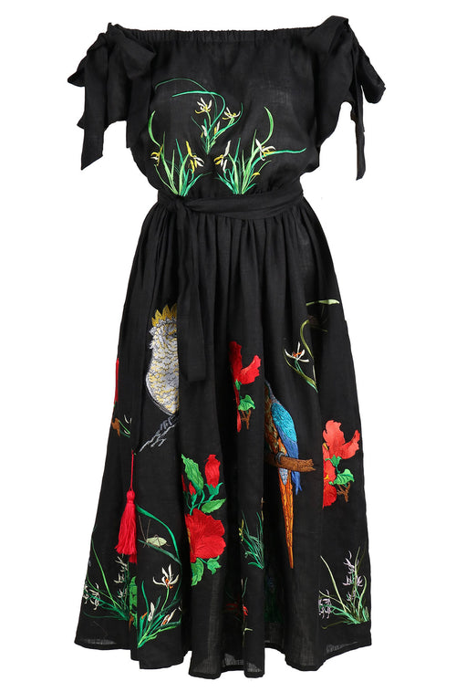 Fanm Mon SOPHIA Off Shoulder Black Linen Exotic Tropical Floral Embroidery Vyshyvanka MIDI Dress