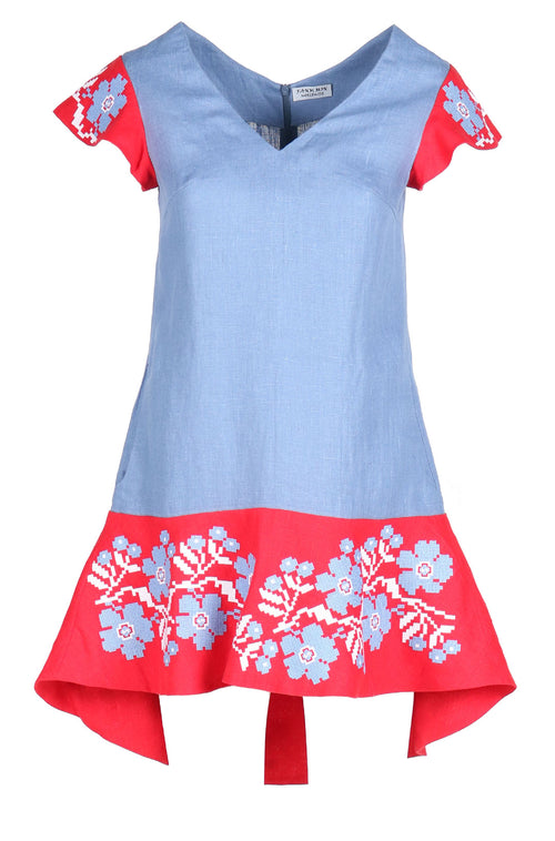 Fanm Mon OLELE Denim Linen Red Blue Floral Embroidery Vyshyvanka MINI Dress size XS-XXL