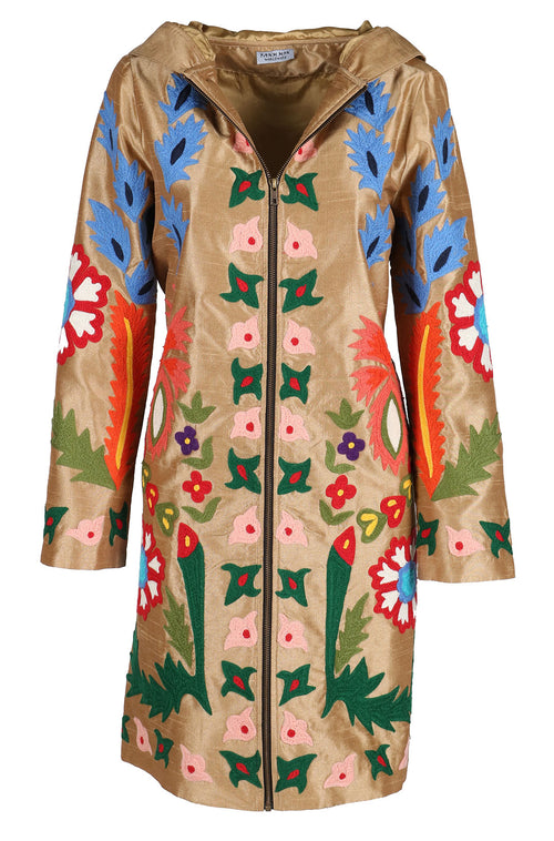 Fanm Mon LORES Vyshyvanka Silk Hoodie Embroidered Brown Coat Multi Floral Color Embroidery Zipper Jacket
