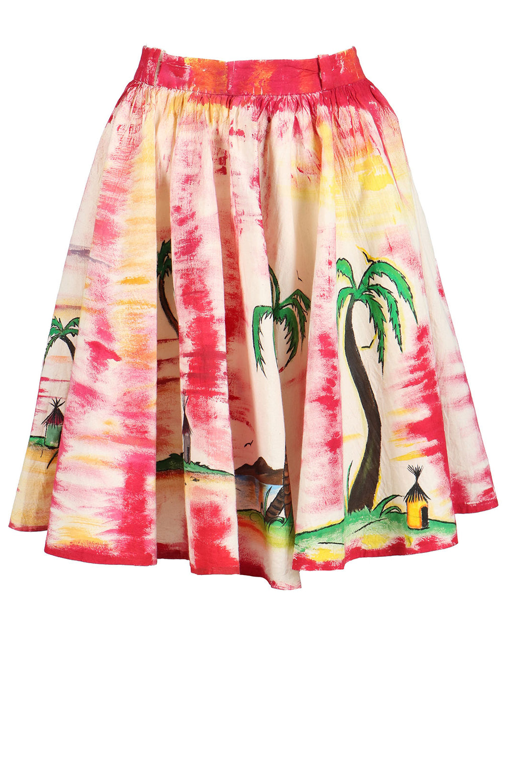 Fanm Mon Hand Painted Linen White Pink Color Island Coconut Tree Summer Skirts HPSS175 SIZE XSMALL