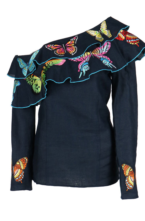 Fanm Mon IN STOCK MONARK One Shoulder Navy Linen Exotic Tropical butterfly Embroidery Vyshyvanka Blouse