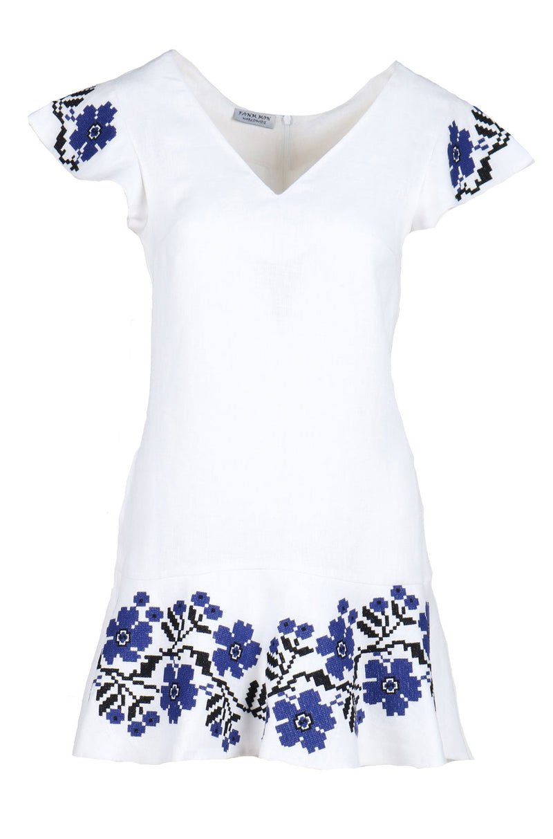 Fanm Mon OLILY White Linen Blue Black Floral Embroidery High Low Vyshyvanka TUNIC Dress size XS-XXL