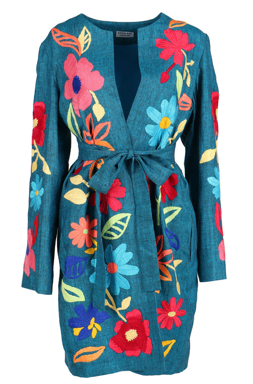 Fanm Mon Vyshyvanka TIOLI Linen Jacket HAND Embroidered MULTI COLOR Floral Jacket