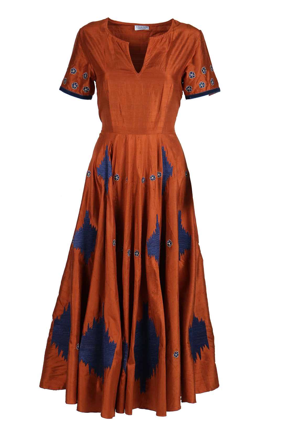 Fanm Mon PLEIN Copper Linen Navy Geometric Embroidered MIDI Dress Vyshyvanka
