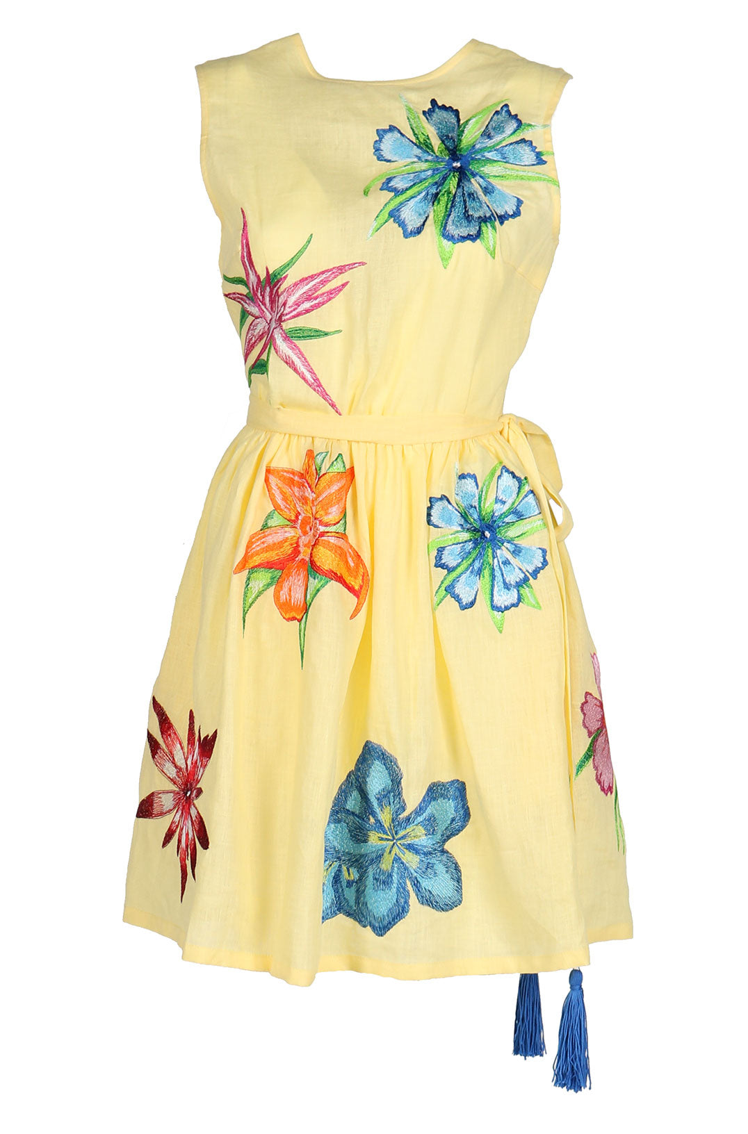 Fanm Mon KIKI Yellow Linen Exotic Floral Embroidery Vyshyvanka MINI Dress size XS-XXL