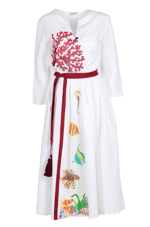 Fanm Mon IN STOCK KORAY White Linen Tropical Coral Reefs Embroidery Vyshyvanka MIDI Dress size XS-XXL