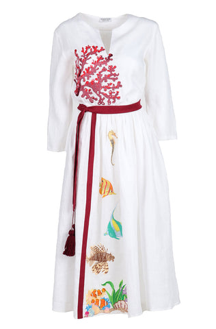 Fanm Mon HEATHER White Linen Peacock Feathers Embroidery MAXI Dress