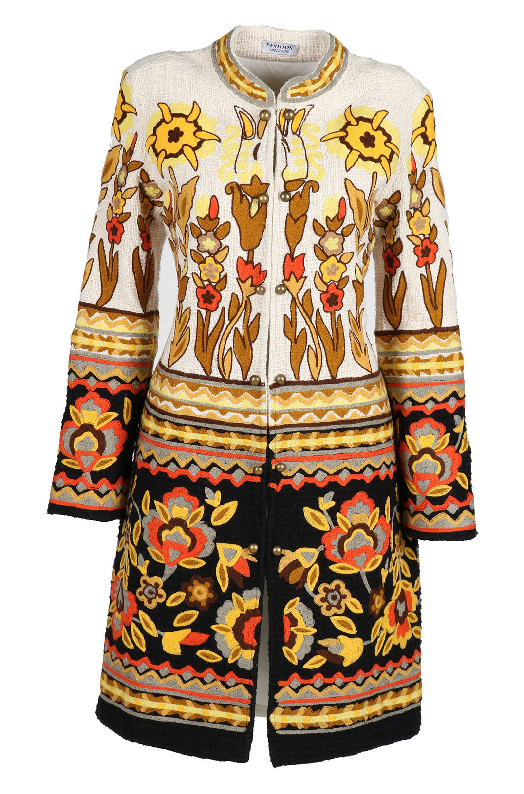 Fanm Mon LESDEUX Vyshyvanka Jacket Dress Embroidered Cream Black Yellow Embroidered Coat