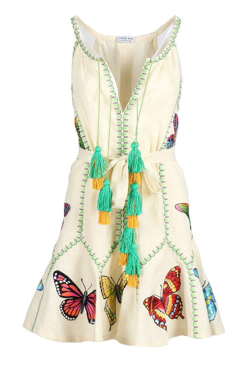 Fanm Mon DIDO Cream Linen Exotic Butterfly Embroidery Vyshyvanka MINI Dress size XS-XXL