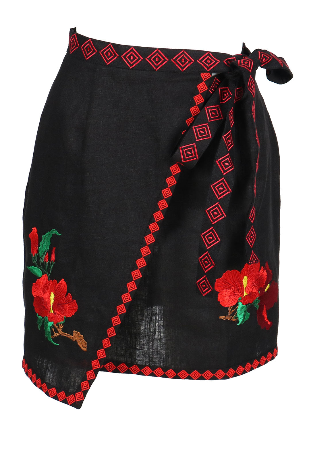 Fanm Mon ZINN Black Linen Exotic Tropical Floral Embroidery Vyshyvanka MINI Skirt size XS-XXL
