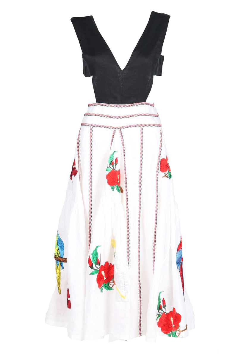 Fanm Mon BISKIS D Black Top White Linen Red Embroidered Floral Vyshyvanka MIDI DRESS