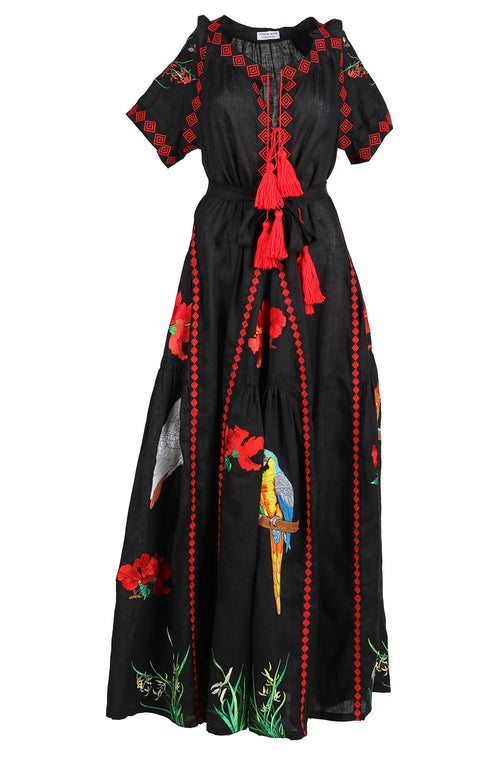 Fanm Mon IN STOCK HIBIS Black Linen Exotic Tropical Floral Embroidery Vyshyvanka MAXI Dress size XS-XXL
