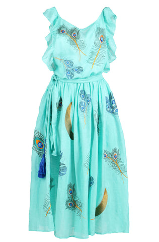 Fanm Mon IRIS One Shoulder Navy Linen Exotic Bird Flock Embroidery Vyshyvanka MIDI Dress