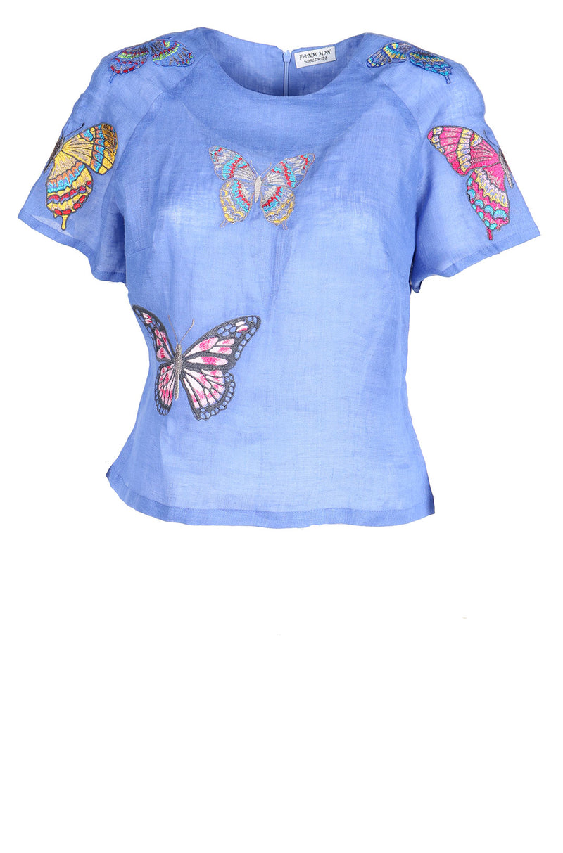 Fanm Mon SKY Denim Blue Linen Hand Cut Butterfly Embroidery Detail Vyshyvanka Blouse SIZE SMALL