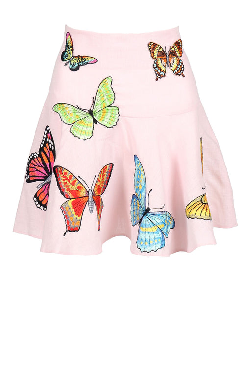Fanm Mon YLYSS Pink Linen Exotic Tropical Butterfly Embroidery Vyshyvanka MINI Skirt size XS-XXL