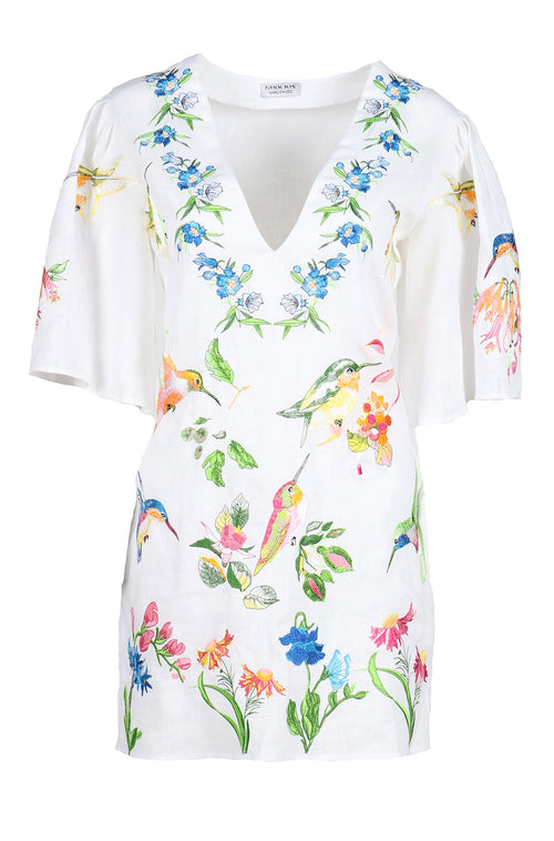 Fanm Mon DAZILE White Linen Humming Birds Floral Embroidery Vyshyvanka TUNIC Dress size XS-XXL