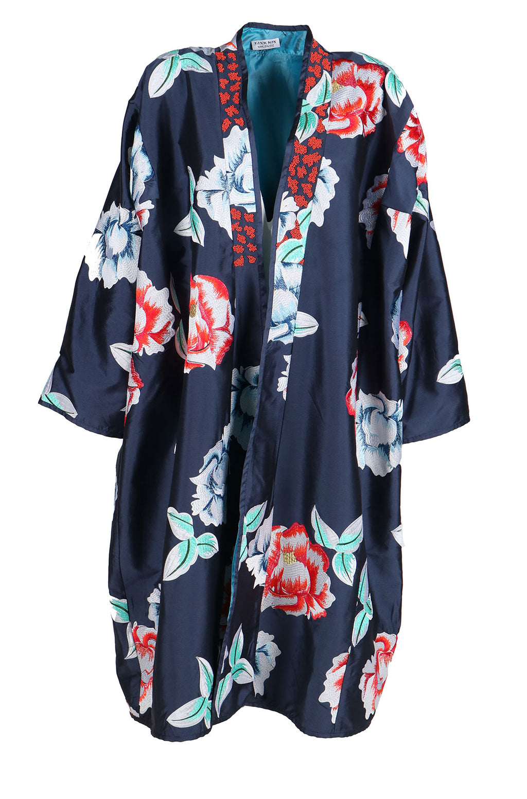 Fanm Mon SOPHIA Vyshyvanka Navy Silk Jacket Floral Embroidered Beaded Kimono Jacket