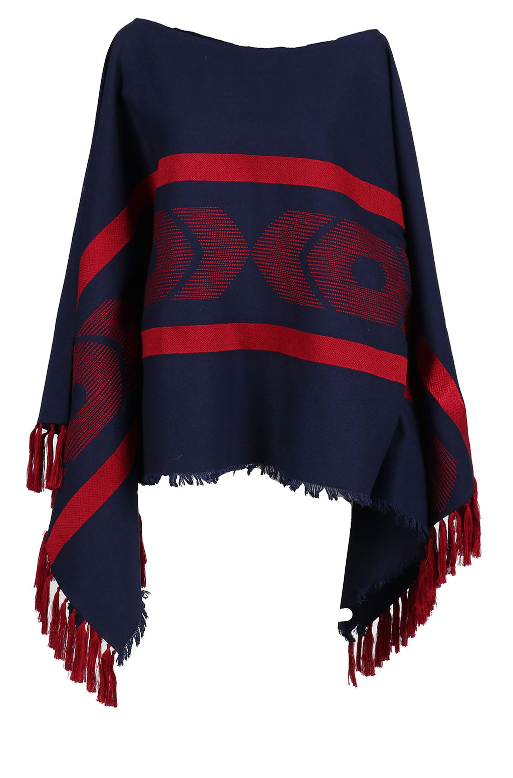 Fanm Mon PONCHO Navy Linen Red Embroidered Vyshyvanka Top Pancho ONE SIZE