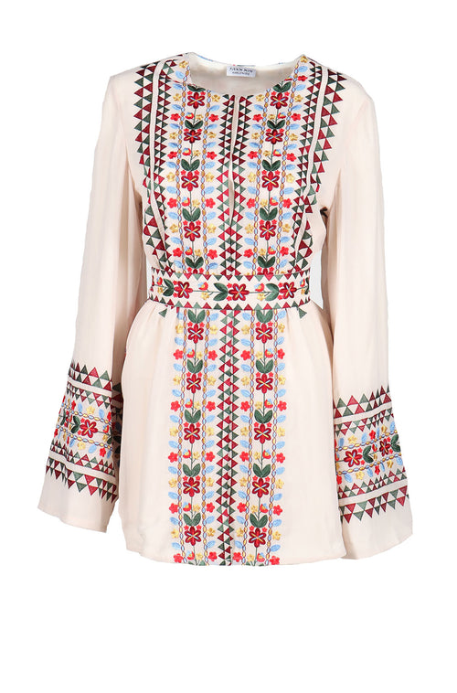 Fanm Mon Cream Linen Moroccan Style Multicolor Embroidery MINI Dress size XS-XL MNXI0102