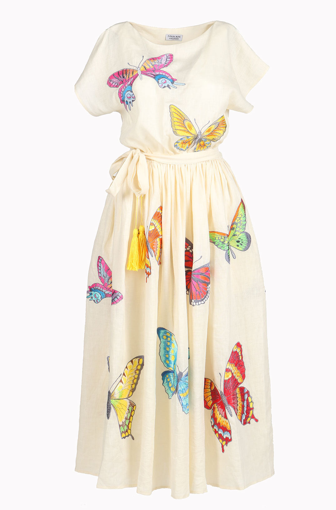 Fanm Mon TEMORA Cream Linen Exotic Butterfly Embroidery Vyshyvanka MIDI Dress size XS-XXL