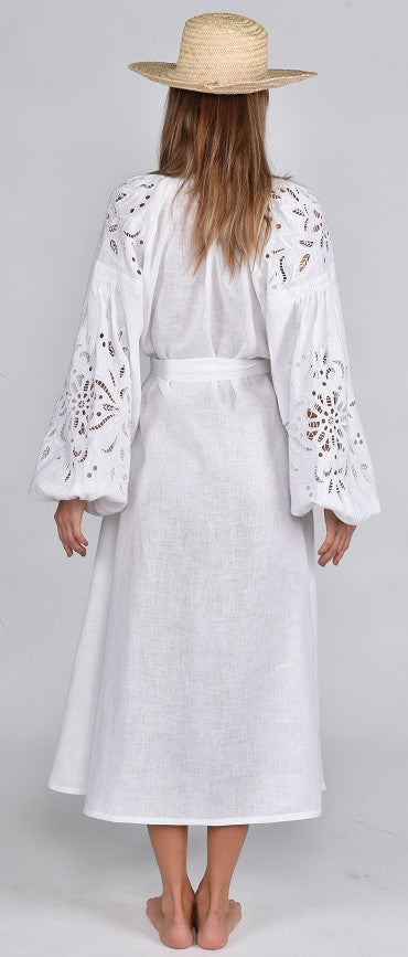 Fanm Mon HOLY Vyshyvanka Midi Dress Embroidered White Linen Cut Out Style Embroidered Dress