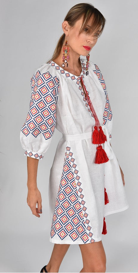 Fanm Mon SELA Vyshyvanka Mini Dress Embroidered White Linen Red Yellow Black Embroidery Dress