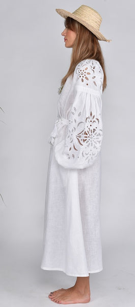 Fanm Mon SS17 HOLY Vyshyvanka Midi Dress Embroidered White Linen Cut Out Style Embroidered Dress