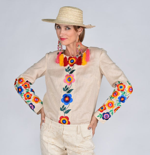 Fanm Mon SS17 FEMME Vyshyvanka Top Embroidered Multi Color Floral Blouse