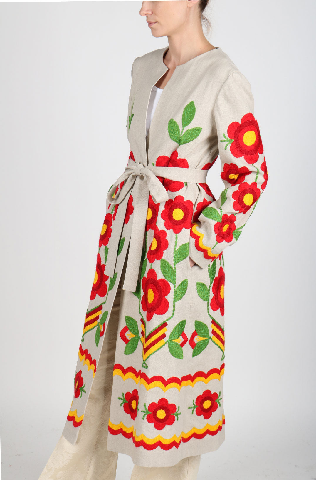 Fanm Mon Vyshyvanka Linen Jacket HAND Embroidered MULTI COLOR Floral Jacket IN STOCK