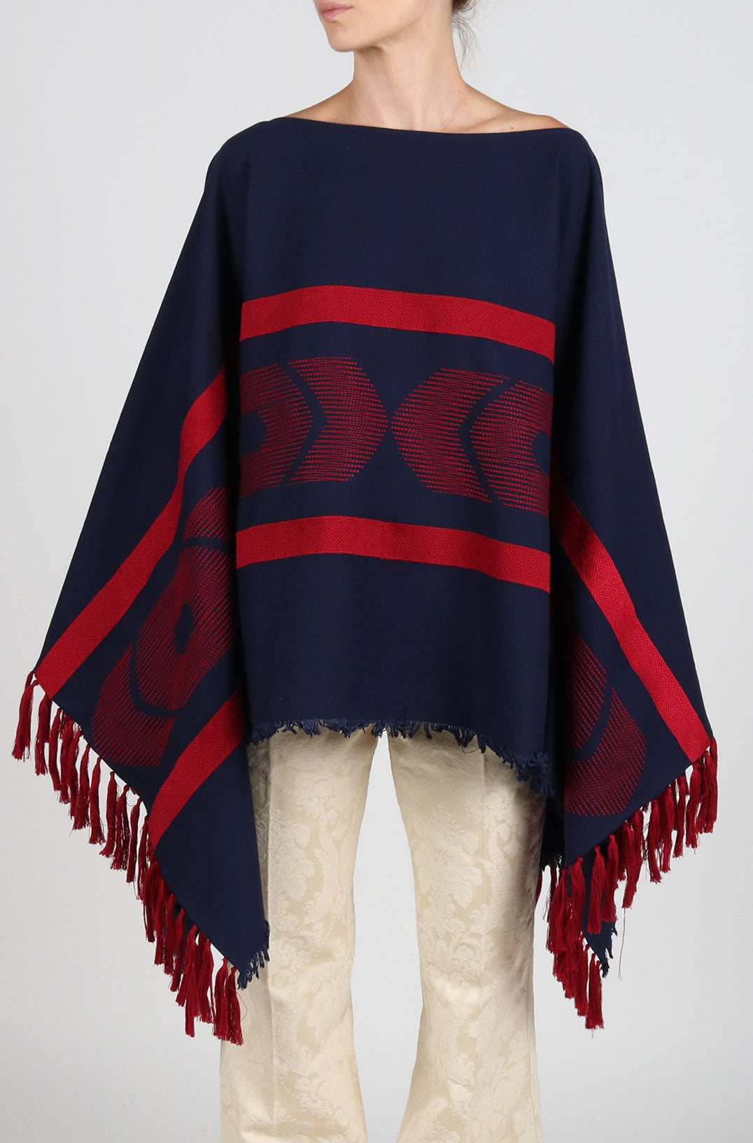 Fanm Mon PONCHO Navy Linen Red Embroidered Vyshyvanka Top Pancho
