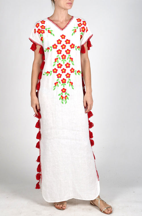 Fanm Mon White Linen Red Multi Color Floral Handmade Embroidered Folk Maxi Tassels Dress. Sizes - XS-XXL KAF001