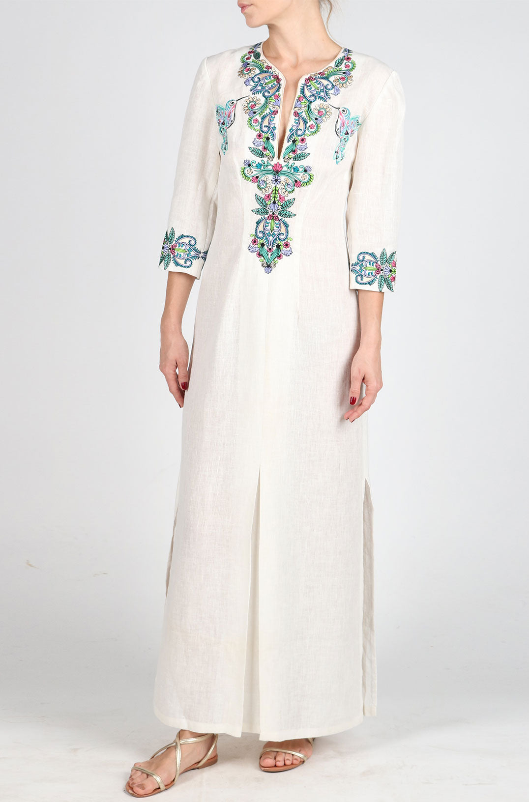 Fanm Mon EVE Cream Linen Green Blue Embroidered Kaftan Dress Vyshyvanka Dress