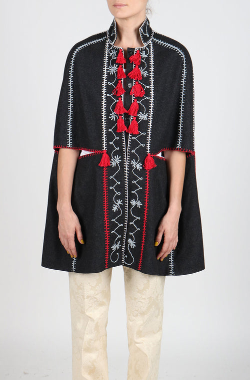 Fanm Mon MONT Vyshyvanka Hand Embroidered Gray Cape Coat Multi Color MON1