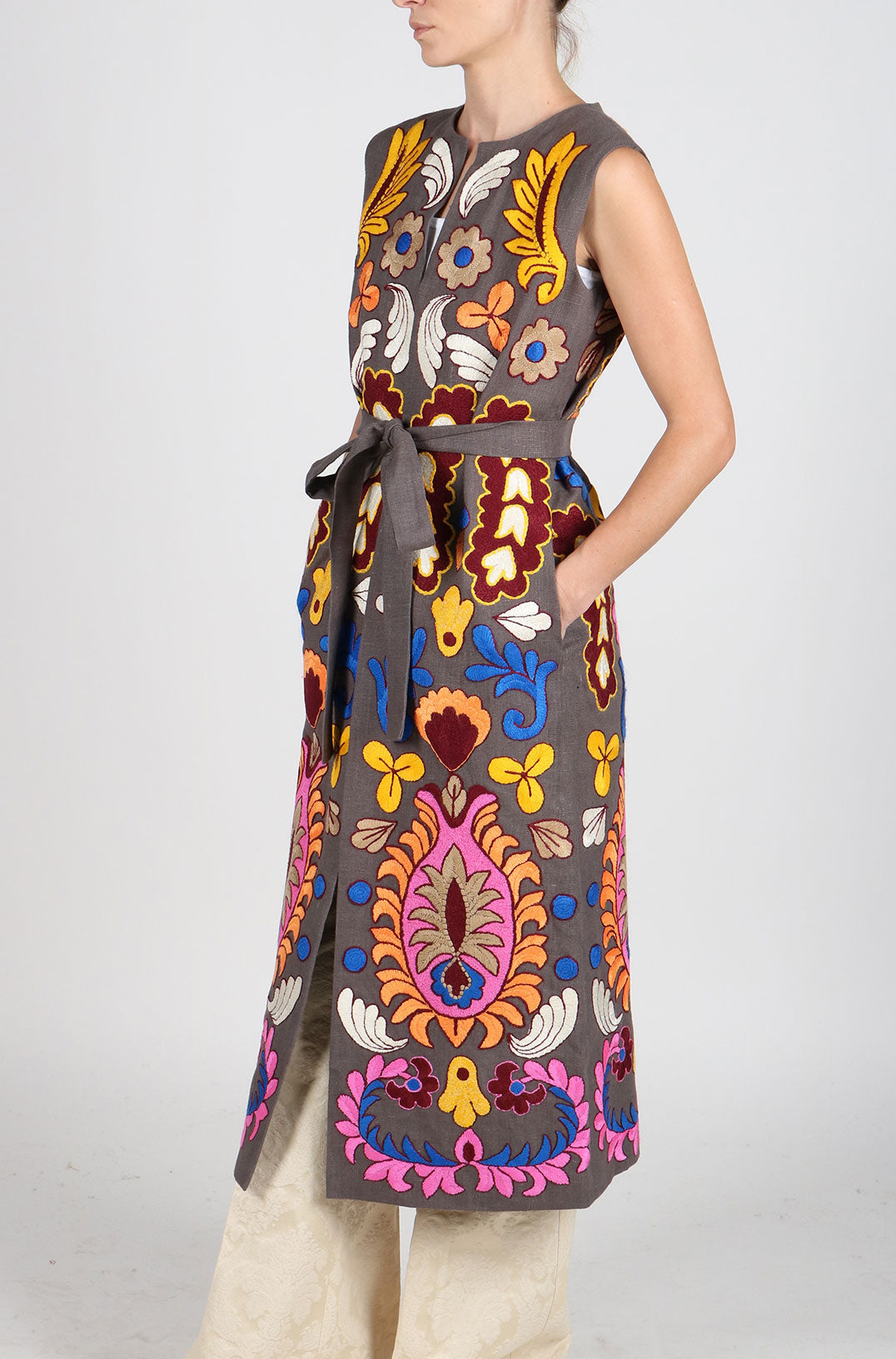 Fanm Mon Vyshyvanka MAROK Linen VEST HAND Embroidered MULTI COLOR Floral Vest IN STOCK
