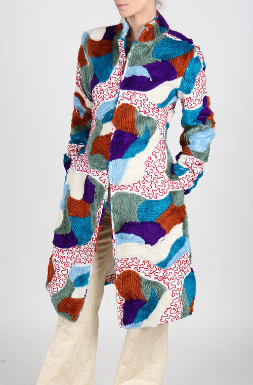 Fanm Mon VIVRE Multi Colored Patchwork Coat Jacket Blue White Purple Brown