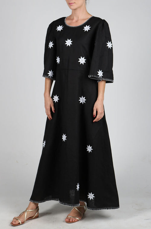 Fanm Mon Black Linen White star Embroidery Vyshyvanka MIDI Dress size XS-XXL MD011XCZ002