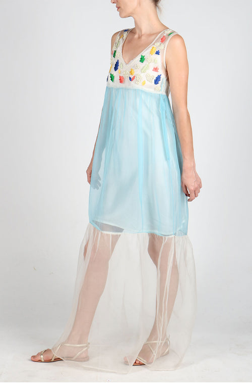 Fanm Mon LAILA Blue Hand Embroidered Hand Beaded Silk Organza Floral Vyshyvanka Dress Transparent MAXI Dress